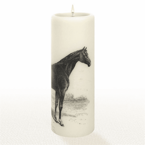 Lucid Liquid Candles - 3x8 Thoroughbred Horse Natural Pillar Candle