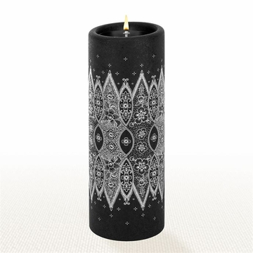 Lucid Liquid Candles - 3x8 White on Black Grace Lace Pillar Candle