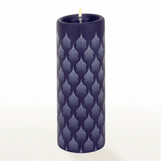 Lucid Liquid Candles - 3x8 White on Indigo Taj Mahal Pillar Candle