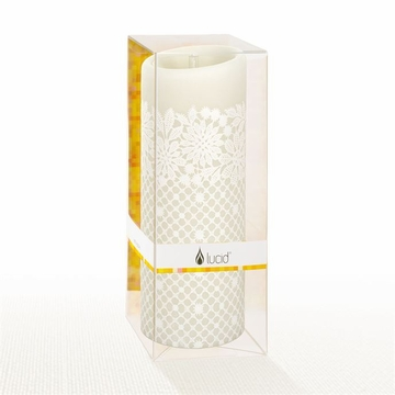 Lucid Liquid Candles - 3x8 White on Natural Charity Lace Pillar Candle