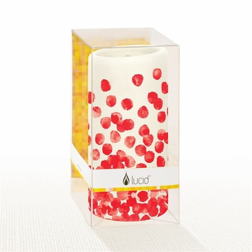 Lucid Liquid Candles Dotty Red 3x6 Pillar Candle