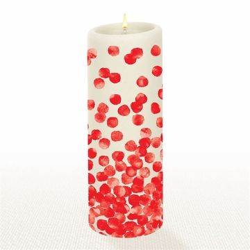 Lucid Liquid Candles Dotty Red 3x8 Pillar Candle