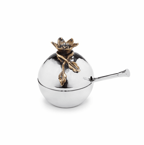 "Mary Jurek Judaica Pomegranate Box with Spoon 3.5"" Diameter"