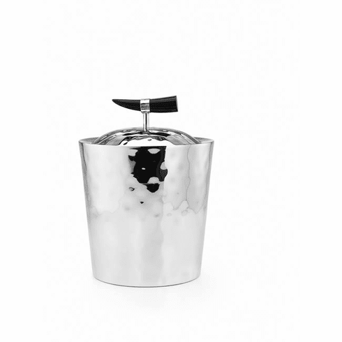 """Mary Jurek Orion Double Walled Ice Bucket with Buffalo Horn 9""""H"""