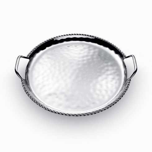 """Mary Jurek Paloma Round Tray Braided Wire and Handles 16.5""""D"""