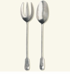 Match Italian Pewter Antique Serving Fork & Spoon