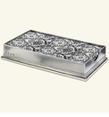 Match Italian Pewter Dinner Napkin/Guest Towel Box With Feather