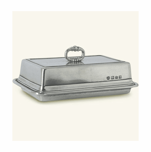 Match Italian Pewter Double Butter Dish with Cover