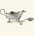 Match Italian Pewter Gallic Gravy Boat With Spoon Set
