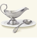 Match Italian Pewter Gravy Boat with Spoon Set