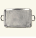 Match Italian Pewter Lago Rectangle Tray With Handles Large