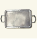 Match Italian Pewter Lago Rectangle Tray With Handles Medium