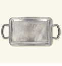 Match Italian Pewter Lago Rectangle Tray With Handles Small