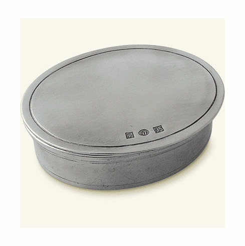 Match Italian Pewter Oval Dresser Box Sm