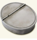 Match Italian Pewter Oval Lidded Cigar Ashtray