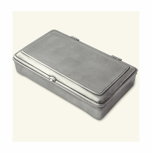 Match Italian Pewter Rect Lidded Box With Leather No Divider