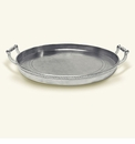 Match Italian Pewter Round Gallery Tray With Handles