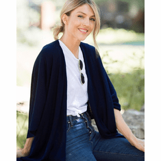 Mer Sea Charleston Cotton Cashmere Wrap With Bag-Navy