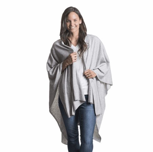 Mer Sea Cotton Cashmere Wrap With Bag Whisper (Light Grey)