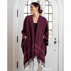 Mer Sea Pocket Travel Wrap With Bag - Berry With Stitch Detail
