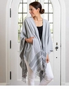 Mer Sea Pocket Travel Wrap With Bag - Fog With Stitch Detail