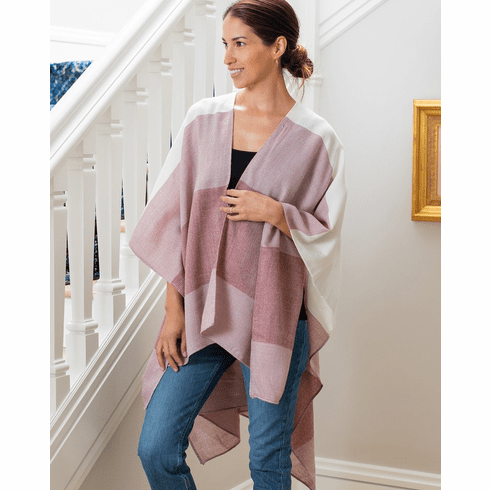 Mer Sea Thinny Traveler Wrap With Bag-Shades Of Rose Stripes
