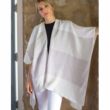 Mer Sea Thinny Traveler Wrap With Bag-Shades Of Taupe Stripes