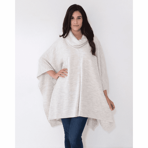 Mer Sea Turtleneck Poncho Travel Sweater With Bag Sea Salt