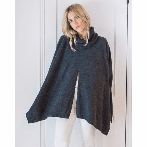 Mer Sea Turtleneck Poncho Travel Sweater With Bag Storm