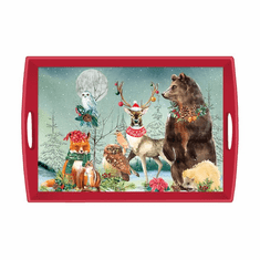 Michel Design Works Christmas Party Large Decoupage Wooden Tray