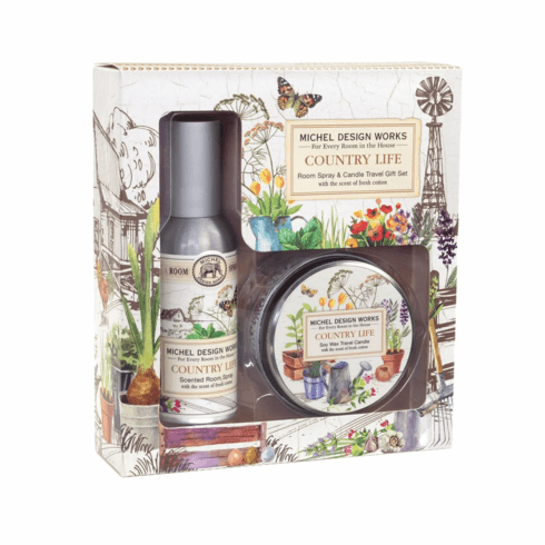 Michel Design Works Country Life Room Spray and Travel Candle Set
