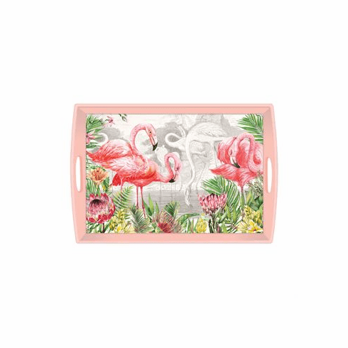Michel Design Works Flamingo Large Decoupage Wooden Tray