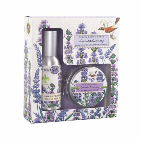 Michel Design Works Lavender Rosemary Room Spray and Candle Travel Gift Set