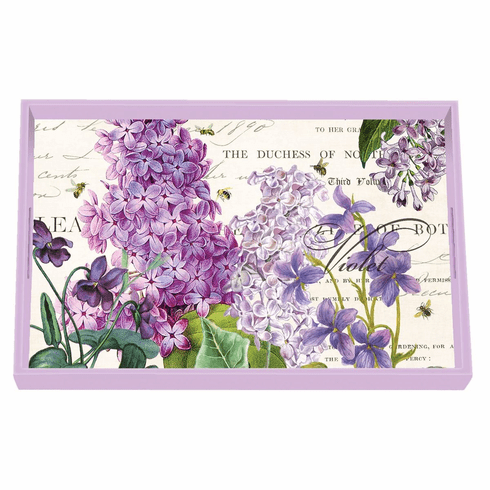 Michel Design Works Lilac and Violets Vanity Decoupage Wooden Tray