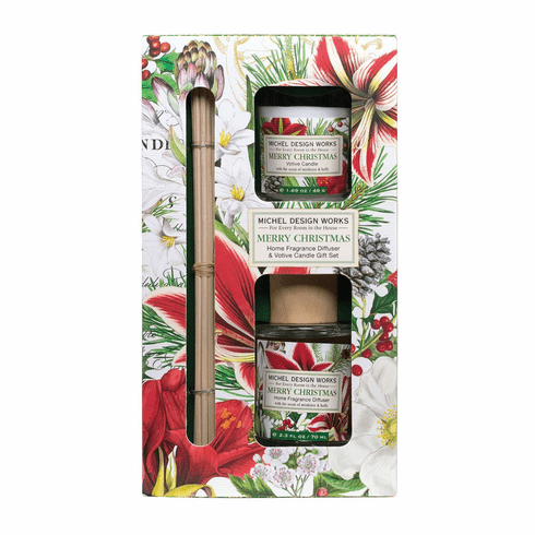 Michel Design Works Merry Christmas Home Fragrance Diffuser & Votive Candle Gift Set