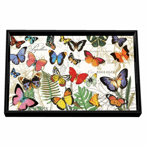 Michel Design Works Papillon Vanity Decoupage Wooden Tray