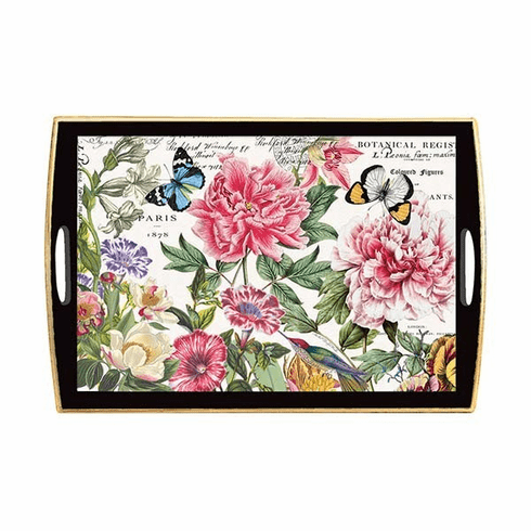 Michel Design Works Peony Large Decoupage Wooden Tray