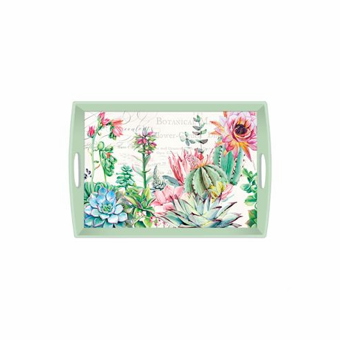 Michel Design Works Pink Cactus Large Decoupage Wooden Tray