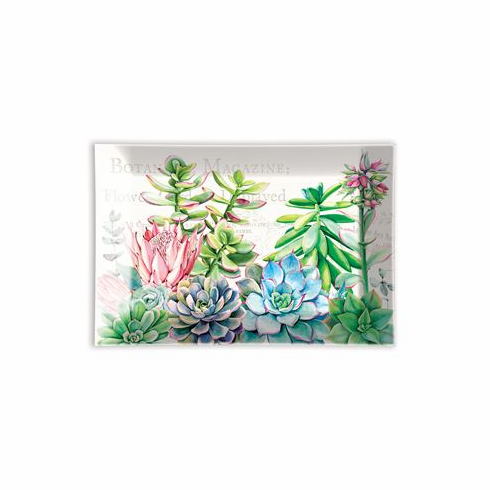 Michel Design Works Pink Cactus Rectangular Glass Soap Dish