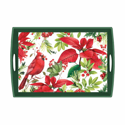 Michel Design Works Poinsettia Large Decoupage Wooden Tray