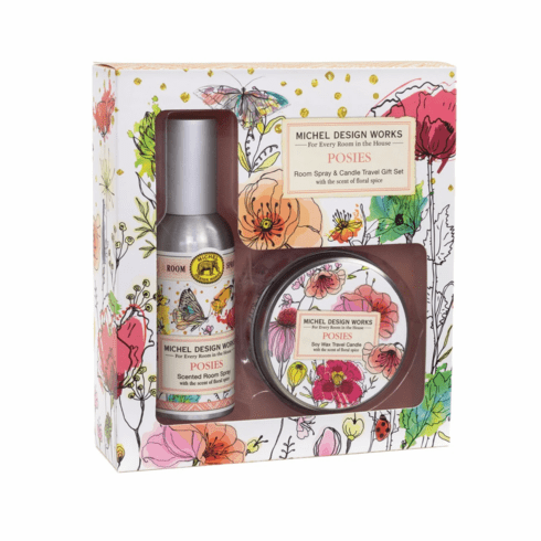 Michel Design Works Posies Room Spray and Travel Candle Set
