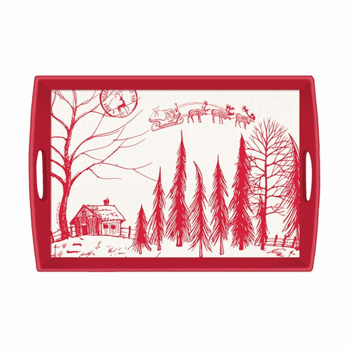 Michel Design Works Santa's Eve Large Decoupage Wooden Tray