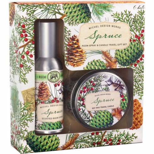 Michel Design Works Spruce Room Spray and Candle Travel Gift Set