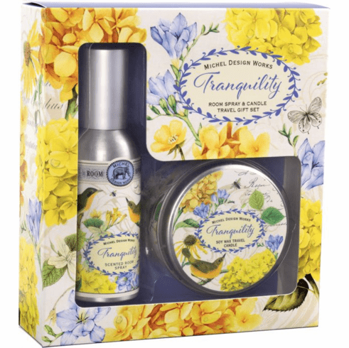 Michel Design Works Tranquility Room Spray and Candle Travel Gift Set