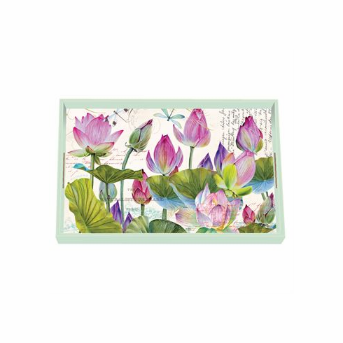 Michel Design Works Water Lilies Vanity Decoupage Wooden Tray