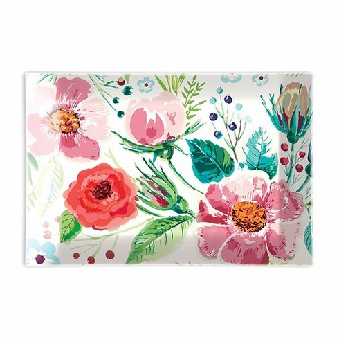 Michel Design Works Wild Berry Blossom Rectangle Glass Soap Dish