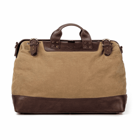 Mission Mercantile Heritage Leather Lineman Bag - Smoke Leather with Brown Canvas