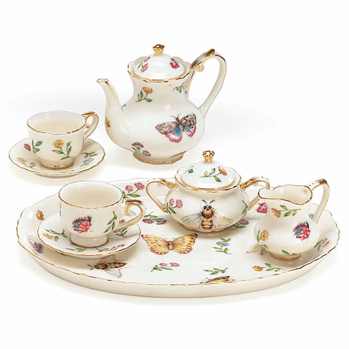 Morning Meadows Butterfly Porcelain Miniature Tea Set