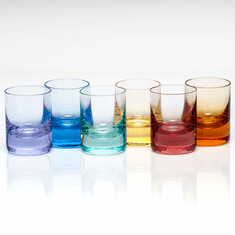 Moser Whisky 2oz Shot Glasses Set of 6 Rainbow & Aquamarine