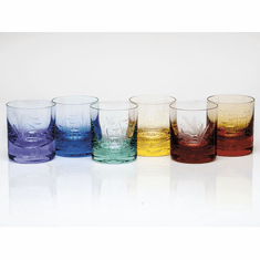 Moser Whisky Ocean Life 12.5oz DOF Glass Set of 6 Rainbow & Aquamarine
